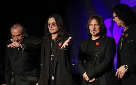 Original members of the rock band Black Sabbath (L-R), Bill Ward, Ozzy Osborne, Geezer Butler and Tony Lommi, announce the reunion of the rock group at the Whiskey A Go Go, the club where the band first performed 41 years ago, at 11:11 a.m. on 11/11/11 in Los Angeles, California November 11, 2011. REUTERS/David McNew