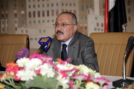 Yemen's President Ali Abdullah Saleh addresses a meeting of the ruling General People's Congress party leaders in Sanaa October 19, 2011.  REUTERS/Yemeni Presidency/Handout