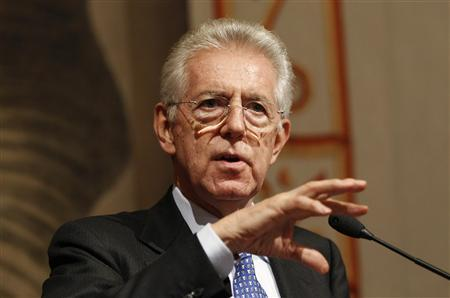 Newly appointed Prime Minister Mario Monti gestures during a news conference at Giustiniani Palace in Rome November 14, 2011. REUTERS/Tony Gentile