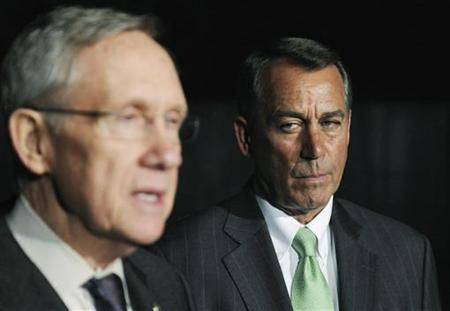 House Speaker John Boehner and Senate Majority Leader Harry Reid in an April 2011 photo.  REUTERS/Jonathan Ernst