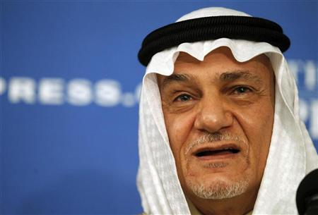 Prince Turki Al Faisal of Saudi Arabia, former director general of the Saudi General Intelligence Directorate, speaks on Saudi issues in Washington November 15, 2011. REUTERS/Molly Riley