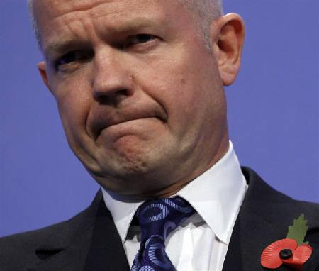 Britain's Foreign Secretary William Hague speaks at a news conference after the London Cyberspace Conference in London November 2, 2011.   REUTERS/Suzanne Plunkett