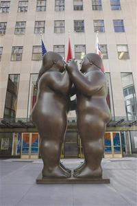 Fernando Botero's bronze sculpture ''Dancers,'' is seen in this handout released to Reuters. REUTERS/Christie's/Handout