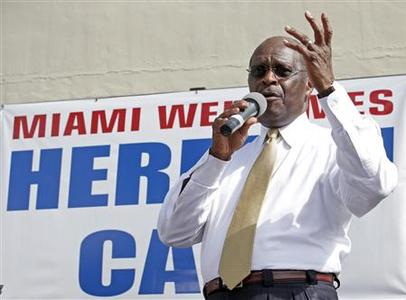 Republican candidate for president Herman Cain makes an appearance at the iconic Cuban restaurant 'Versailles' in the Little Havana neighborhood in Miami, Florida November 16, 2011.   REUTERS/Joe Skipper