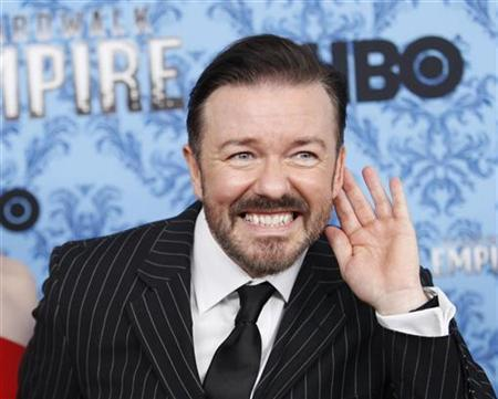 Actor Ricky Gervais gestures during a photo call for the premiere of the second season of ''Boardwalk Empire'' in New York September 14, 2011. REUTERS/Eduardo Munoz