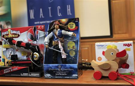 Toys are seen before a news conference by the group W.A.T.C.H. where they reveal their nominees for the 2011 '10 Worst Toys List' in Boston, Massachusetts November 16, 2011. W.A.T.C.H stands for World Against Toys Causing Harm, Inc. REUTERS/Adam Hunger