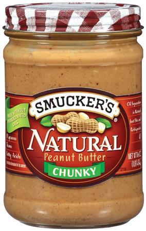 A jar of recalled Smucker's Natural Chunky Peanut Butter is seen in an undated handout photo. REUTERS/U.S. Food and Drug Administration/Handout