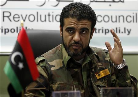 Tripoli militia leader Abdullah Naker speaks during an interview in Tripoli November 16, 2011. REUTERS/Ismail Zetouny