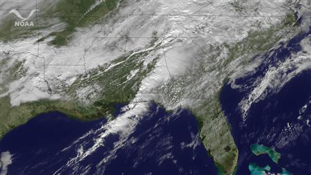 Storm clouds are seen over the southeastern U.S. in a satellite visualization image taken Nov 16, 2011.  Severe storms and suspected tornadoes across the South have resulted in structural damage, power outages, injuries and at least six deaths in three states, officials said on Thursday.  REUTERS/NOAA/Handout