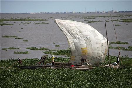Men paddle canoes filled with sand through water hyacinth floating on the Lagos Lagoon October 26, 2011. REUTERS/Akintunde Akinleye