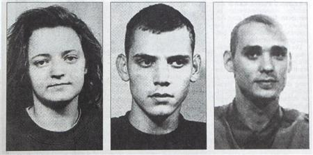 A picture from Ostthueringer Zeitung newspaper made available to Reuters on November 13, 2001, shows portraits of suspected 'doner murderers', released by Thuringia federal police in 1998 when they were searching for people suspected of putting fake bombs in Jena.  Fotos aus Fahndungsaufruf des LKS Thüringen 1998. German investigators have linked an unsolved series of murders of nine foreign-born food vendors and shopowners, nicknamed the ''doner murders'' to a neo-Nazi terrorist cell, the federal prosecutors' office said on November 11, 2011. Police identified the two men found dead in the caravan as ''Uwe B'' and ''Uwe M'' and said they had also arrested a woman identified as ''Beate Z'' who was described as their ''companion''. The woman faces charges of murder, attempted murder, arson and belonging to a terrorist organisation and police did not rule out connecting more neo-Nazis to the case.   REUTERS/Ostthueringer Zeitung