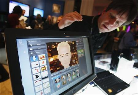 A Dell Sx2210t touch monitor with built-in web cam and facial recognition and running Windows 7 is seen being demonstrated at the Windows 7 Launch Party in New York, October 22, 2009. REUTERS/Shannon Stapleton