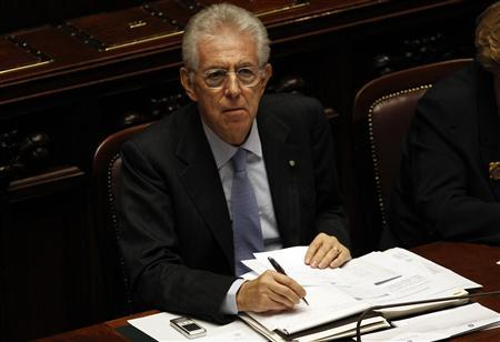 Italy's Prime Minister Mario Monti looks on during a vote of confidence at the Lower House of Parliament in Rome, November 18, 2011. REUTERS/Tony Gentile