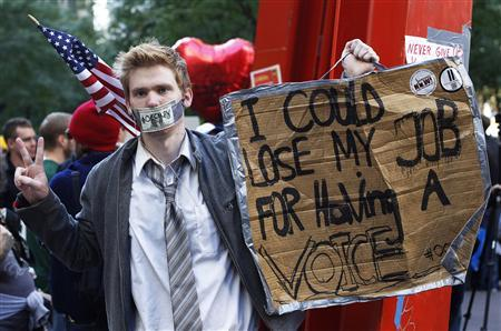 An Occupy Wall Street campaign demonstrator stands in Zuccotti Park, October 17, 2011.REUTERS/Shannon Stapleton