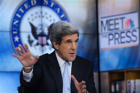 U.S. Senator John Kerry (D-MA), one the lawmakers on the 12-member ''super committee,'' appears on ''Meet the Press'' in Washington, in this handout photograph taken and released on November 20, 2011.  REUTERS/William B. Plowman/NBC NewsWire/Handout