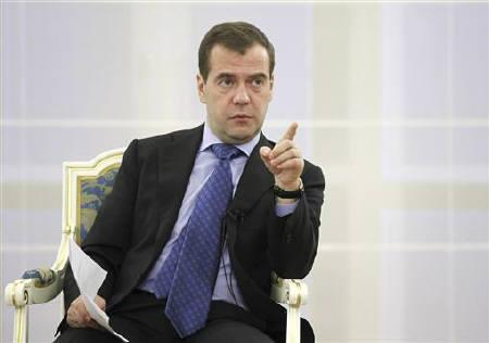 Russian President Dmitry Medvedev gestures during his meeting with disabled individuals at the Gorki presidential residence outside Moscow November 16, 2011. REUTERS/Dmitry Astakhov/RIA Novosti/Kremlin/Files