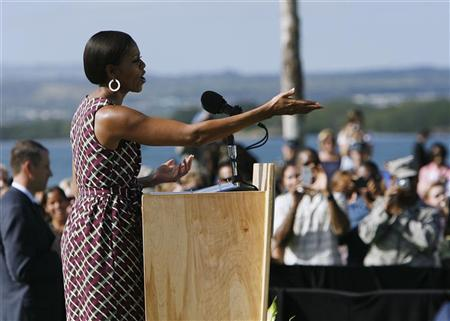 First lady Michelle Obama speaks at Joint Base Pearl Harbor-Hickam in Honolulu, Hawaii in this November 14, 2011 file photo. REUTERS/Hugh Gentry