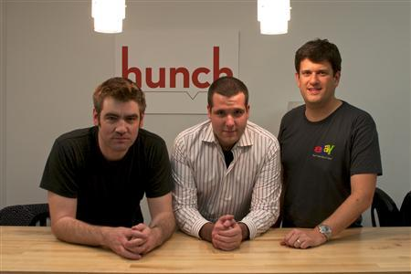 Hunch founders (L- R) Chris Dixon, Matt Gattis, Tom Pinckney in a photo taken November 21, 2011. REUTERS/Courtesy of Hunch