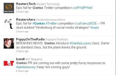 A cropped screenshot grabbed from Twitter.com on November 22, 2011, showing articles on and reaction to Quantas Airlines' ''Qantas Luxury'' competition. REUTERS/Handout