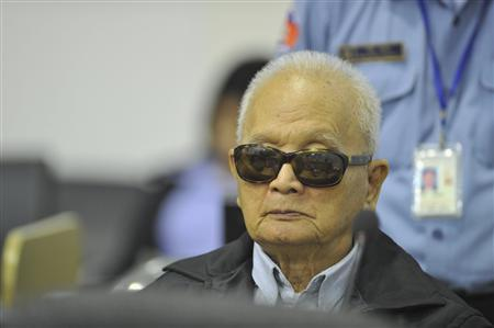 Former Khmer Rouge leader ''Brother Number Two'' Nuon Chea attends his trial at the Extraordinary Chambers in the Courts of Cambodia (ECCC) on the outskirts of Phnom Penh in this November 22, 2011 handout. REUTERS/Mark Peters/ECCC/Handout