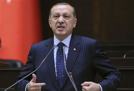 Turkey's Prime Minister Tayyip Erdogan addresses members of parliament from his ruling AK Party (AKP) during a meeting at the Turkish parliament in Ankara November 22, 2011. REUTERS/Stringer