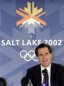 Mitt Romney, the chief of Salt Lake City's Olympic organising committee, speaks during a news conference in Salt Lake City, Utah in this February 24, 2004 file photograph. REUTERS/ David Loh /Files