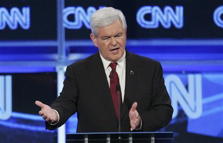 U.S. Republican presidential candidate former U.S. House Speaker Newt Gingrich (R-GA) speaks during the CNN GOP National Security debate in Washington, November 22, 2011.  REUTERS/Jonathan Ernst