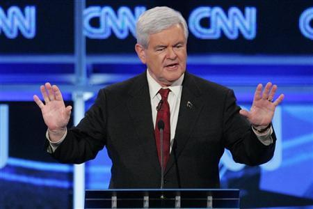 Republican presidential candidate former U.S. House Speaker Newt Gingrich answers a question during the CNN GOP National Security debate in Washington, November 22, 2011. REUTERS/Jonathan Ernst