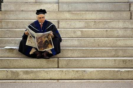 Thomas Michel, a professor at Harvard Medical School, waits for the start of the 360th Commencement Exercises at Harvard University in Cambridge, Massachusetts May 26, 2011.     REUTERS/Brian Snyder