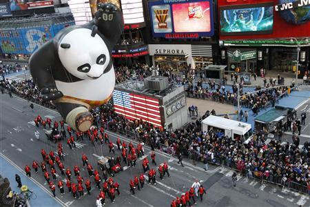 The Kung Fu Panda balloon floats through Times Square during the 85th Macy's Thanksgiving day parade in New York November 24, 2011. REUTERS-Brendan McDermid