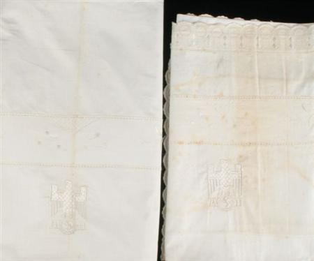 Two pieces of Adolf Hitler's personalized bed linen are seen in a handout photo.  The linens will be put on auction by auctioneers Dreweatts in the English city of Bristol.  REUTERS/www.dnfa.com/Handout