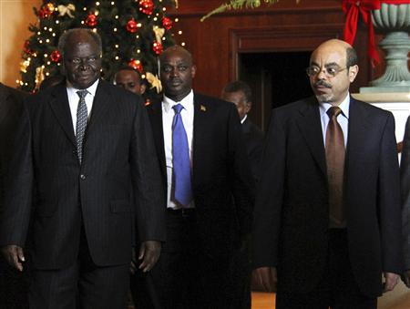 Kenya's President Mwai Kibaki (L), walks with the Ethiopia's Prime Minister Meles Zenawi (R) on arrival at the 16th Extra Ordinary Summit of IGAD Heads of state meeting on Somalia, in Addis Ababa November 25, 2011. REUTERS/Kumerra Gemechu