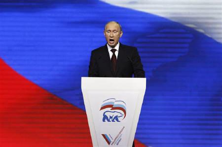 Russia's Prime Minister Vladimir Putin addresses the audience during a United Russia party congress in Moscow November 27, 2011.REUTERS/Sergei Karpukhin