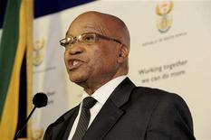 South African President Jacob Zuma speaks during a media briefing at the Union Building in Pretoria, October 24, 2011.  REUTERS/Siyabulela Duda /Government Communications and Information Systems (GCIS)/Handout