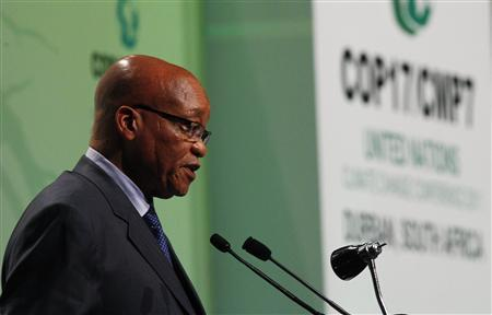 South African President Jacob Zuma addresses the opening plenary session of the Conference of the Parties (COP17) of the United Nations Climate Change Conference in Durban, November 28, 2011.  REUTERS/Mike Hutchings