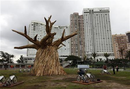 A man cycles in front of a makeshift baobab tree during the COP17 (Conference of the Parties of the United Nations Climate Change) in Durban November 28, 2011. REUTERS/Siphiwe Sibeko