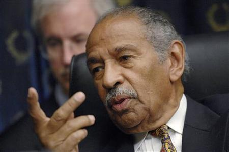 Committee chairman Rep. John Conyers (D-MI) holds a House Judiciary Committee hearing on the George W. Bush presidency, called ''Executive Power and Its Constitutional Limitation'', on Capitol Hill in Washington, July 25, 2008.  REUTERS/Jonathan Ernst