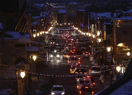A general view of Main Street in Old Town Park City is seen from the south at dusk during the 2009 Sundance Film Festival in Park City, Utah January 18, 2009. REUTERS/Danny Moloshok