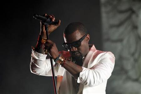 U.S. singer Kanye West performs during the 10th Mawazine World Rhythms music festival in Rabat May 21, 2011.             REUTERS/Youssef Boudlal