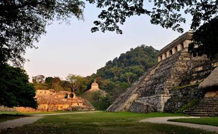 A general view shows the exterior of the tomb of a Mayan ruler at the ruins of the Mayan city of Palenque in the hills of the southern Mexican state of Chiapas in this undated handout photo by the National Institute of Anthropology and History (INAH) released June 23, 2011. REUTERS/INAH/Handout