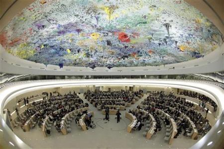 Overview of the Human Rights Council special session on the situation in Syria at the United Nations in Geneva December 2, 2011. Picture taken with a fisheye lens. REUTERS/Denis Balibouse