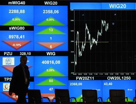 A man walks in front of the WIG20 index screen at the Warsaw Stock Exchange October 26, 2011. REUTERS/Kacper Pempel