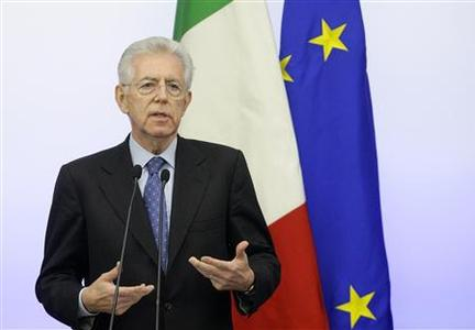 Italian Prime Minister Mario Monti speaks during a news conference on the new austerity package in Rome, December 4, 2011. Monti accelerated plans on Sunday to approve a 20 billion-euro austerity package aimed at shoring up Italy's strained finances and stemming a crisis that threatens to overwhelm the euro zone. REUTERS/Remo Casilli