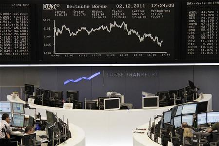 Traders are pictured at their desks in front of the DAX board at the Frankfurt stock exchange December 2, 2011. REUTERS/Remote/Pawel Kopczynski