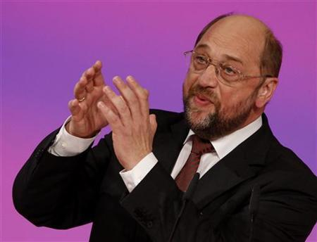 Martin Schulz, president of the Group of Progressive Alliance of Socialists and Democrats (S&D) in the European Parliament addresses Germany's Social Democratic Party (SPD) party convention in Berlin, December 4, 2011. REUTERS/Fabrizio Bensch