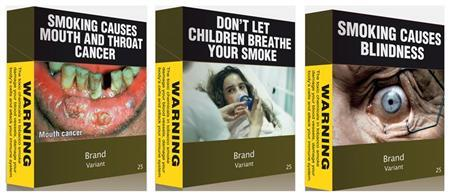A combination photo shows illustrations obtained by Reuters of some of the proposed models of cigarettes packs April 7, 2011.  REUTERS/Australian Government/Handout