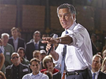 Republican candidate for president and former Gov. Mitt Romney speaks at a campaign appearance at Conchita Foods Inc. in Miami, Florida November 29, 2011. REUTERS/Joe Skipper