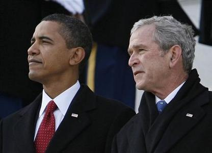 President Barack Obama and former president George W. Bush during the inauguration ceremony in Washington,  January 20, 2009.  REUTERS/Kevin Lamarque