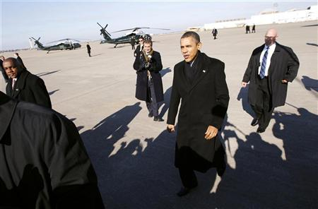 U.S. President Barack Obama arrives in Kansas City, Missouri in this December 6, 2011 file photo. REUTERS/Kevin Lamarque