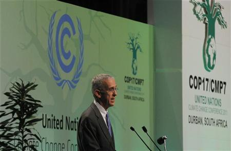 U.S. Envoy for Climate Change Todd Stern addresses the United Nations Climate Change Conference (COP17) plenary session in Durban December 8, 2011. REUTERS/Mike Hutchings